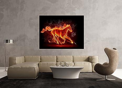 Glasbild Motiv Pferd Feuer Wohnzimmer Modern querformat ...