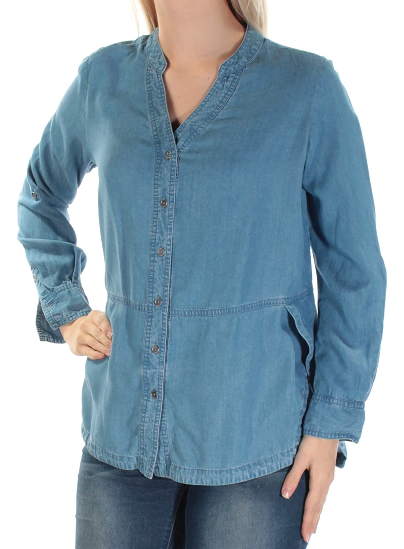 STYLE & COMPANY  49 Womens New 1110 Light bluee Denim HiLo Top S Petites B+B