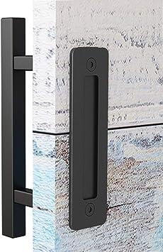 12 Inch Black Door Pull Handle For Sliding Barn  Retro Wood Door Handle