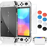 Dockable Case for Nintendo Switch OLED Model with Screen Protector and Thumb Grips Cap, MENEEA Clear PC Hard All-Round…