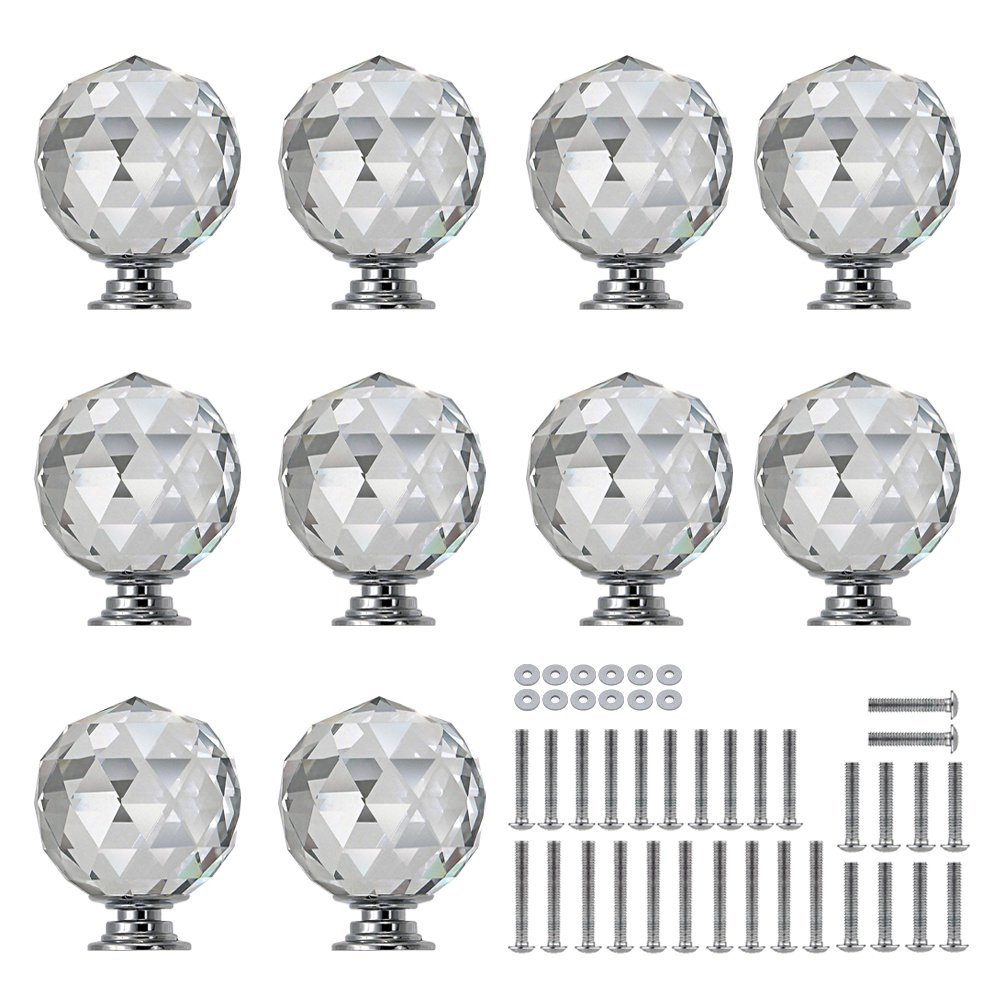 Sunmall 10 Pcs 30mm Round Diamond Crystal Cabinet Knobs Drawer Pull Handle Kitchen Door Wardrobe Hardware Used for Cabinet, Drawer,Dresser, Cupboard Come with 3 Kinds of Screws