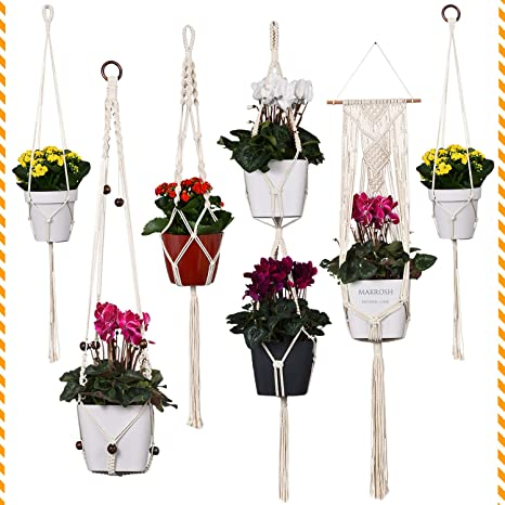 6pcs Flower Pot Holder Hanging Planter Basket Garden Decor Macrame Plant Hanger