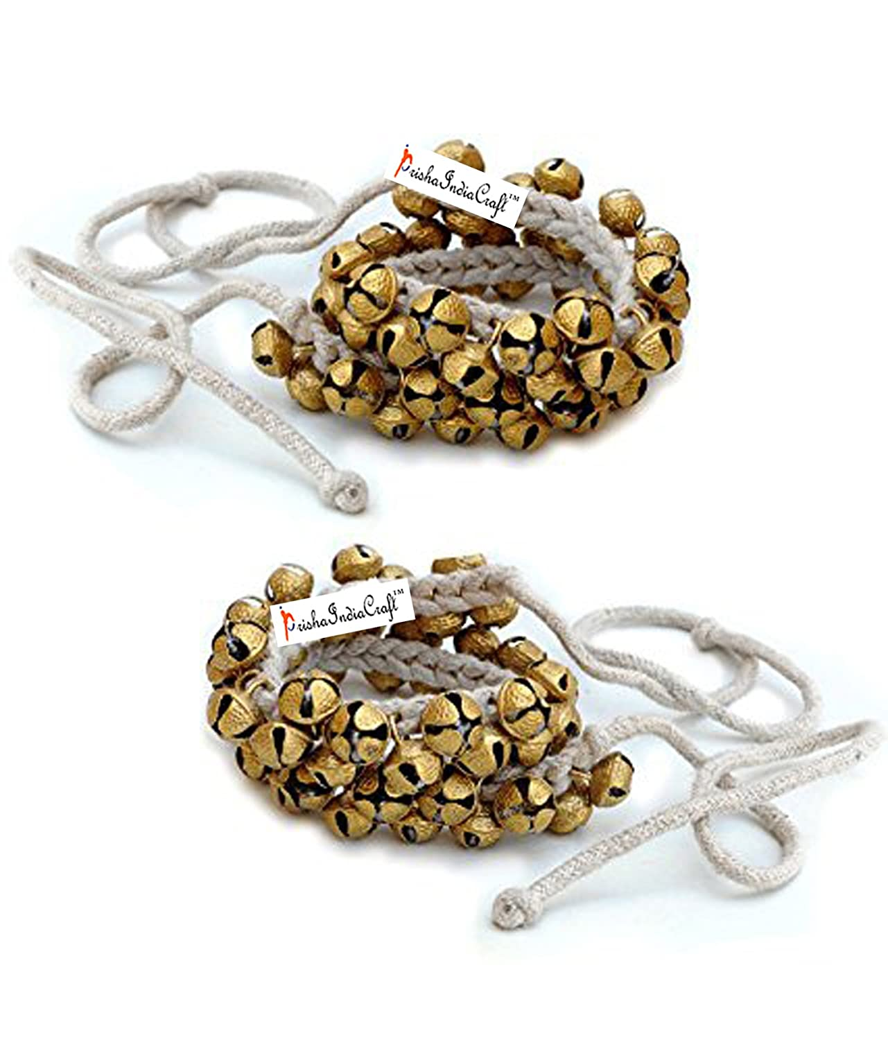 Prisha India Craft ® Kathak Ghungroo Pair, (25+25) (16 No. Ghungroo) Big Bells Best quality Tied with CottonCord Indian Classical Dancers Anklet Musical Instrument