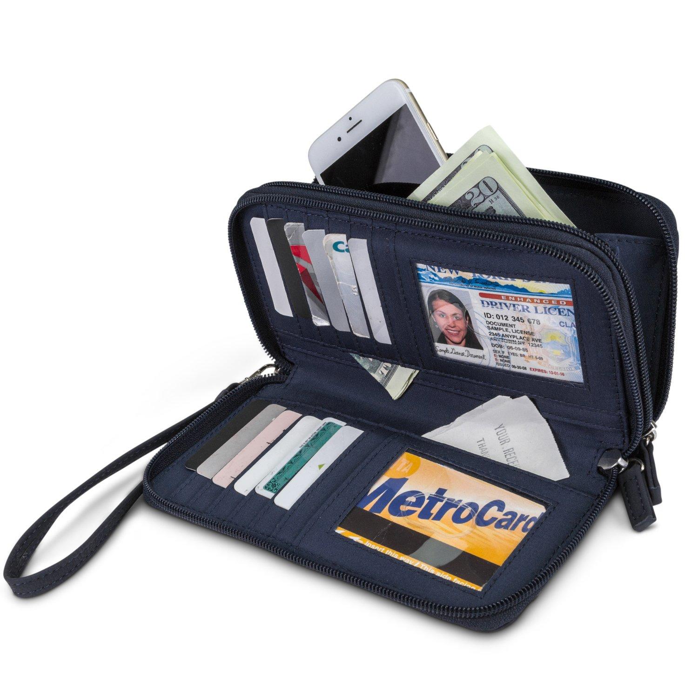 Mundi Double Zip Vegan Leather Womens RFID Clutch Wallet With Wristlet Strap (Navy) by Mundi (Image #2)