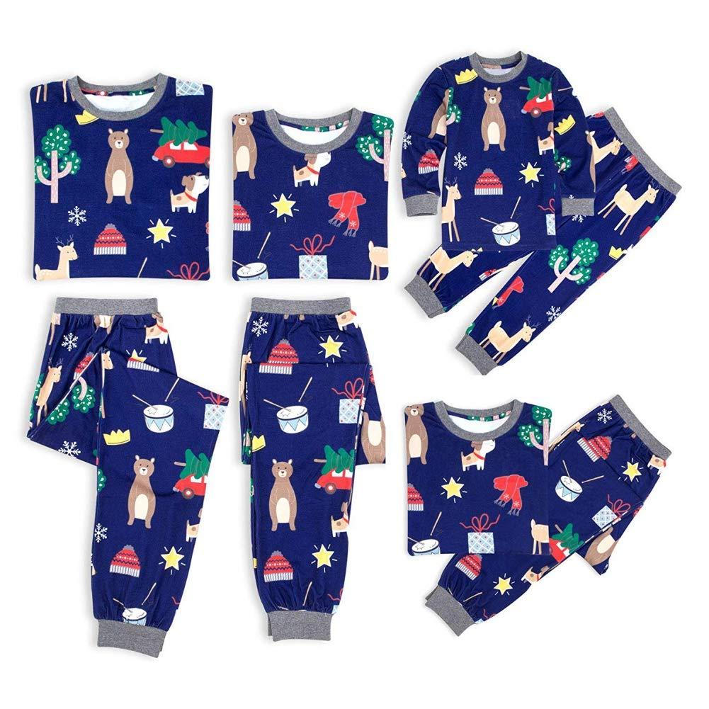 Miyanuby Women Men Kids Baby Cartoon Pattern Round Collar Pajamas Set Sleepwear Christmas Family Matching Pjs Set