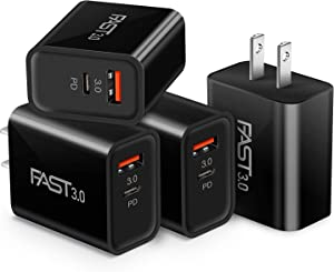 Dual USB Wall Charger, iSeekerKit 4 Pack 20W 2-Ports Adaptive Fast Charging Block [PD3.0+Quick Charging 3.0] Wall Plug Adapter Compatible iPhone 12 Mini/12 Pro Max/11 Pro Max/8 Plus, Pixel 5, Switch