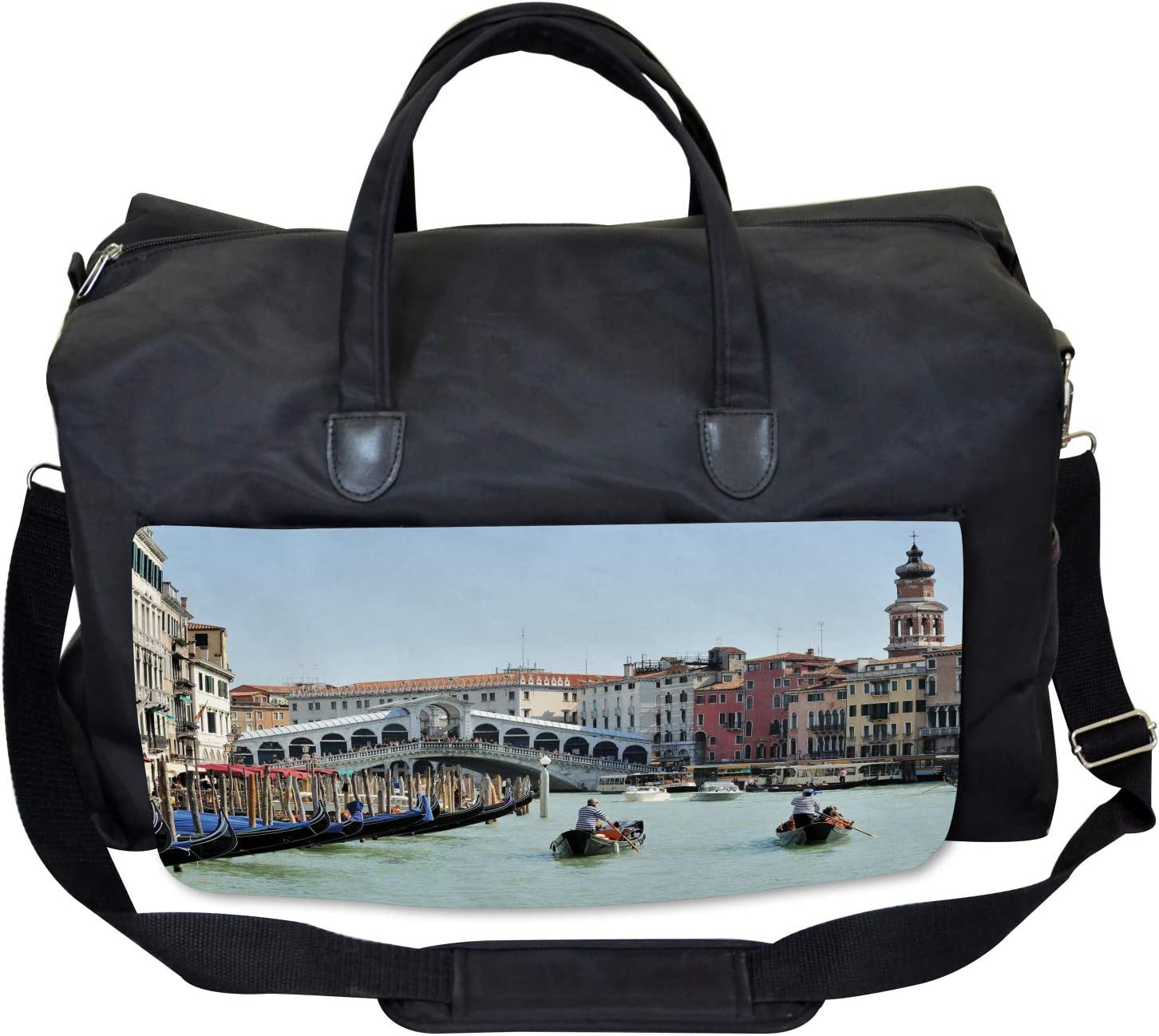 Ambesonne Italy Gym Bag Venice Gondola Canal Photo Large Weekender Carry-on