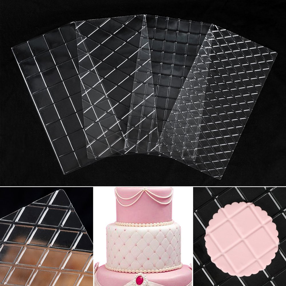 DGQ Cake Decorating Tools 4-Piece Quilted Fondant Imprint Mat Set, Clear Leateck CDTX4