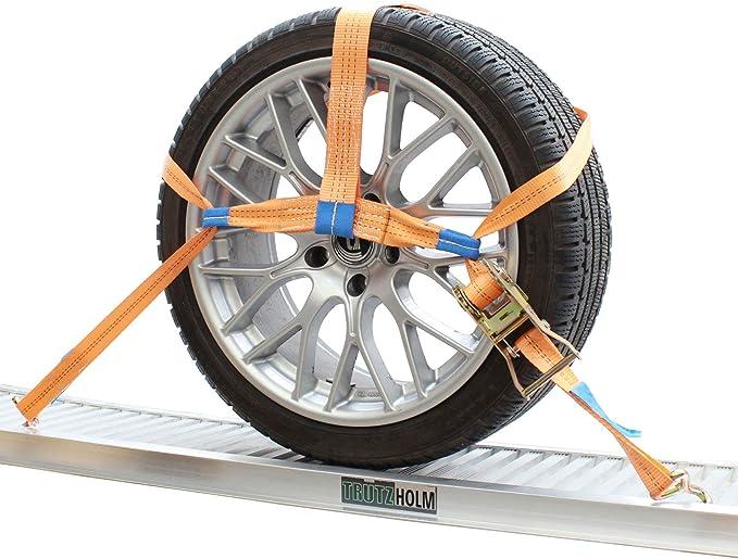 Trutzholm 4x Spanngurte Autotransport Zurrgurt Radsicherung Pkw Kfz Trailer Anhänger Verzurrsystem Radsicherung Auto