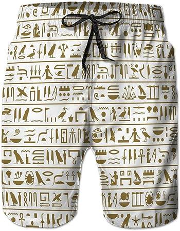 Yuerb Bañador para Hombre Pantalones Cortos de Playa Estampados con Bolsillos Jeroglíficos egipcios Antiguos Seamless hohorizontal