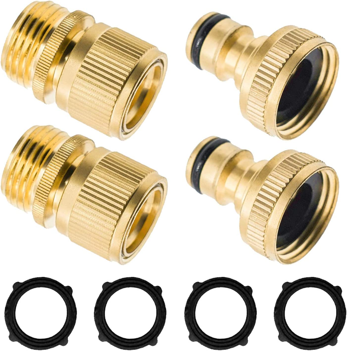 Xiny Tool Garden Hose Quick Connector, Solid Brass Quick Connector and Disconnector 3/4 Inch GHT Male and Female Water Hose Fittings (2 Set)