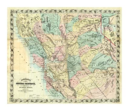 Amazon.com: Global Gallery New Map of Central California, 1871-Paper ...