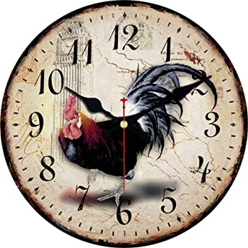 Mzdpp Diseño De Gallo Vintage Relojes De Pared para Balcón Sala De Estar Casa Decorativa Relojes De Animales Arte De Pared Retro Relojes De Pared Grandes ...