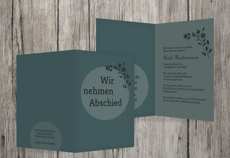 marca Tarjeta de de de luto circular, pastellGrauTuuml;rkis, 70 Karten  tienda de venta en línea