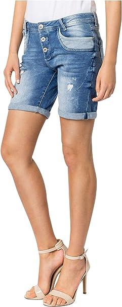TALLA XS. Sublevel Shorts de Mujer | Bermudas Vaqueros Azul con Rotos y Estilo Boyfriend