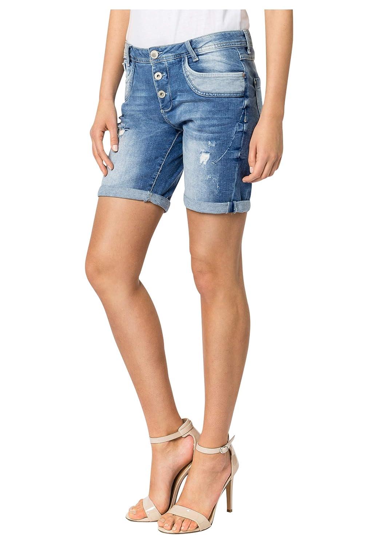 TALLA S. Sublevel Shorts de Mujer | Bermudas Vaqueros Azul con Rotos y Estilo Boyfriend