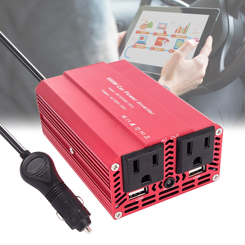 imoli 300W/500W Power Inverter DC 12V to AC 110V Modified Sine Wave Car Converter 3.1A Dual USB 2 AC Outlets Emergency Power Supply