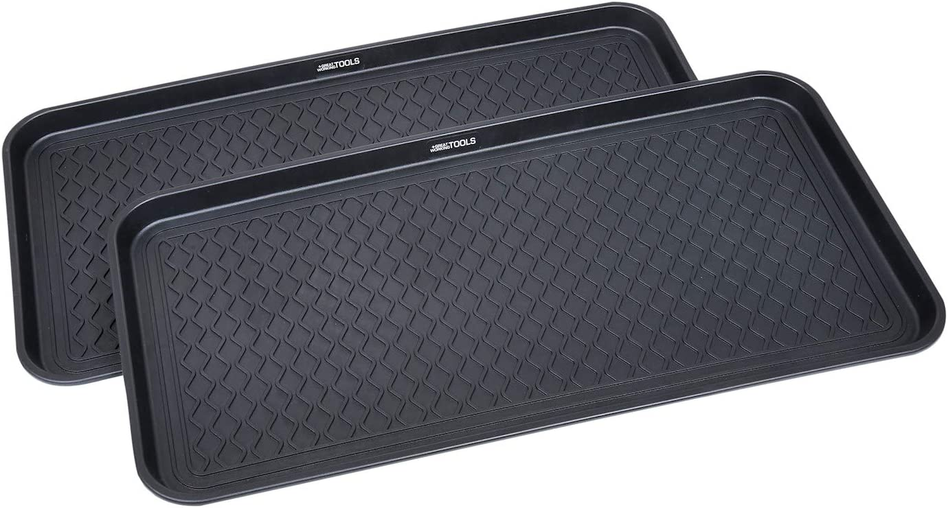 "Great Working Tools Boot Trays - Set of 2 Black All Weather Heavy Duty Shoe Trays, Pet Bowl Mats Trap Mud, Water and Food Mess to Protect Floors - Black, 30"" x 15"" x 1.2"""