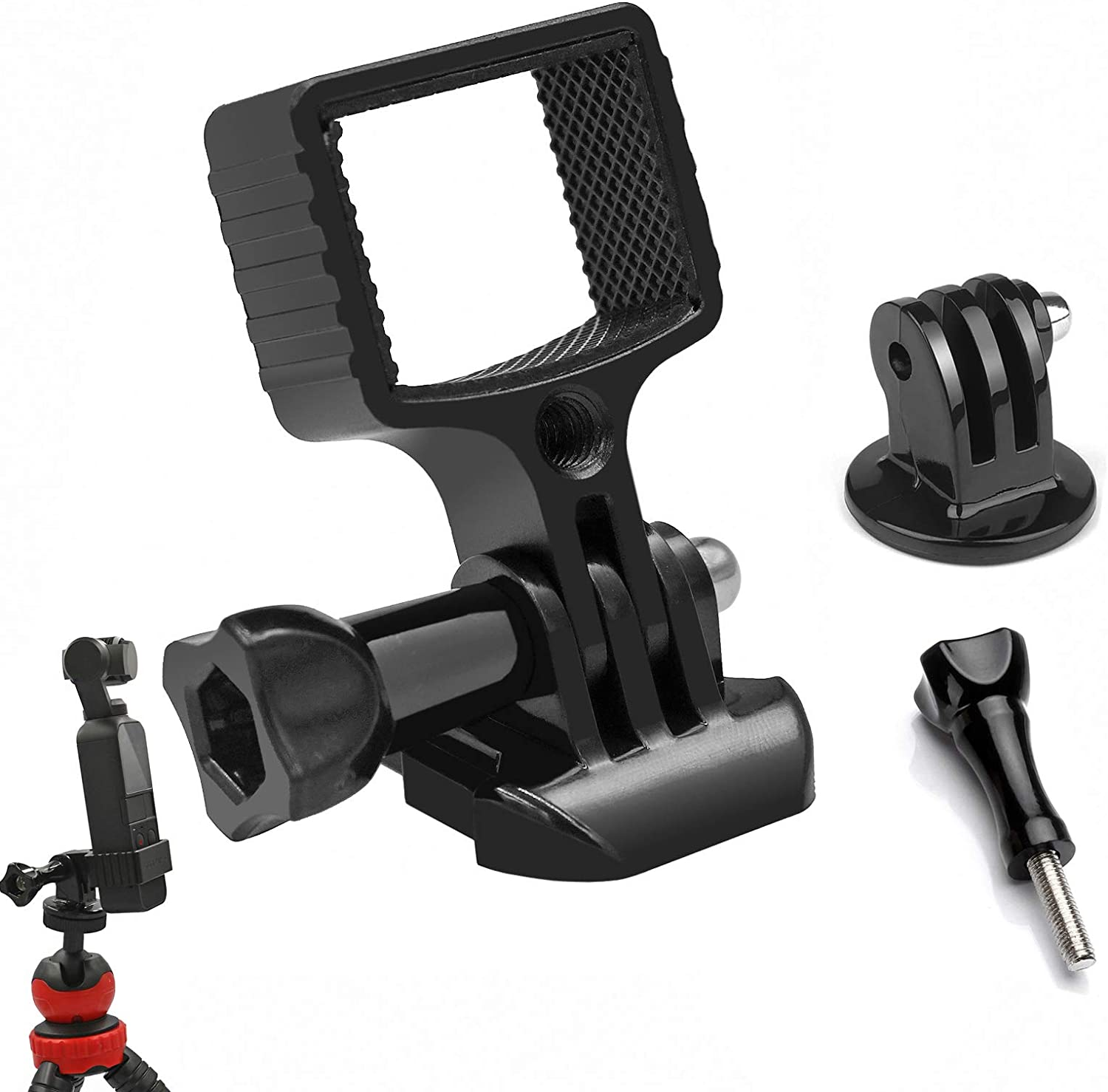 Gurmoir Aluminum Alloy Extension Holder Adapter Kit Compatible with DJI Osmo Pocket Mount with Tripod Gimbal Monopod or GoPro Accessories (with 1/4 Screw Hole)