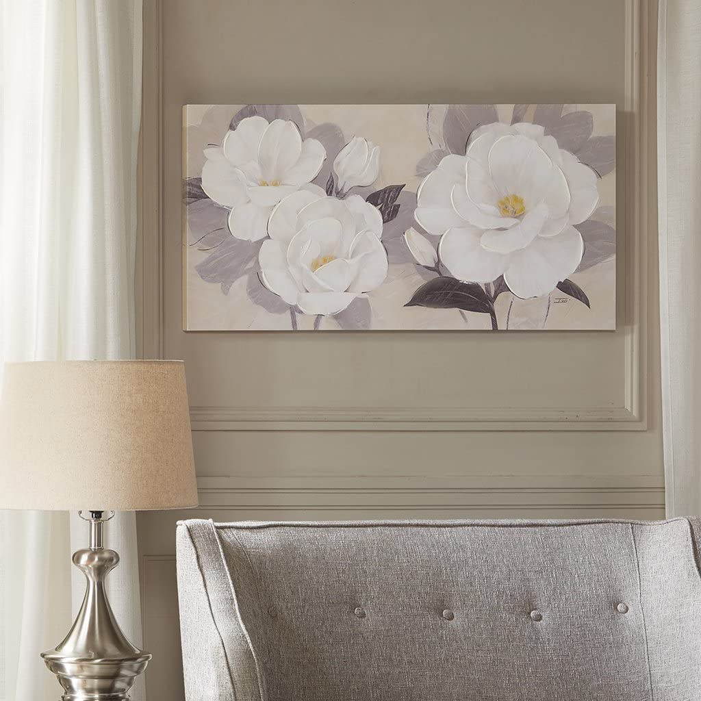 Madison Park, Midday Bloom Florals Wall Art Hand Embellished Oversize Canvas, Modern Floral Design, Global Inspired Painting Living Room Accent Décor, Multi, 39 x 19, White