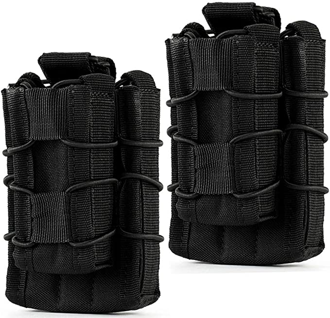 Double Magazine Pouch Nylon Molle Clip Holster Tactical Mag Belt Dual Holder Bag