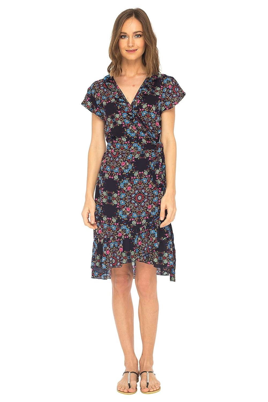 Navy bluee SHUSHI Womens Midi Floral VNeck Wrap Dress Short Sleeve Maxi Boho Sundress