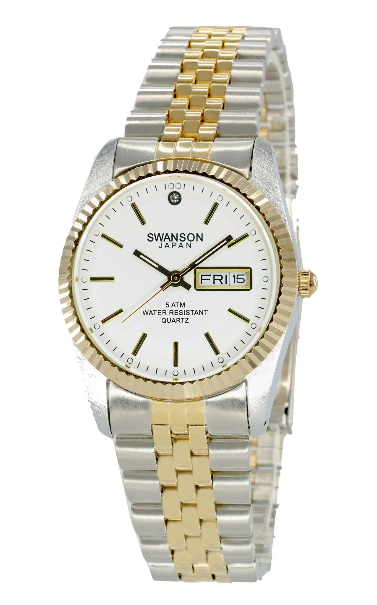 Swanson Japan Men's Two-Tone Day-Date Watch White Dial with Travel Case