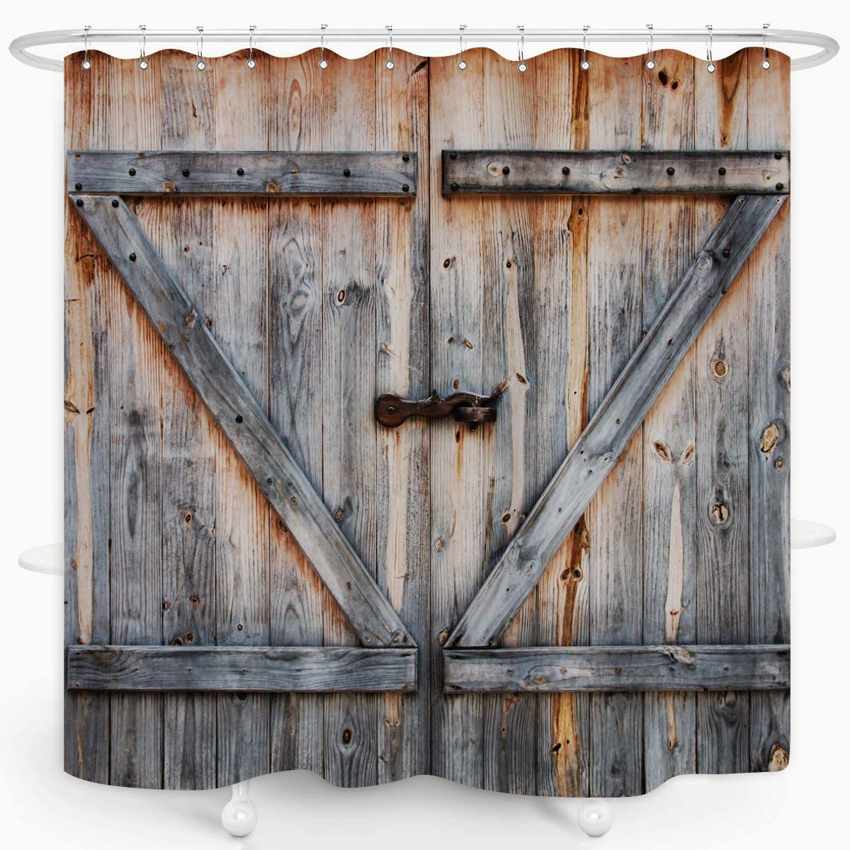 Rustic Shower Curtain Old Wooden Garage Door Bath Curtain American Native Country Farm House Style Waterproof Fabric Bathroom Décor 72x72 Plastic Hooks 12PCS
