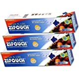 Zipouch Fresh-N-Loc (Medium) Slider Lock Bags (Pack of 03 x 10 Bags = 30 Bags) Microwave & Freezer Safe, Retains Freshness Longer