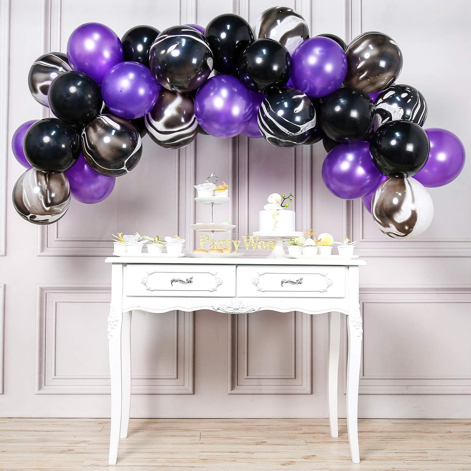 PartyWoo Black and Purple Balloons, 40 pcs 12 Inch Pearl Purple Balloons, Marble Balloons, Purple and Black Balloons, Royal Purple Balloons for Purple ...