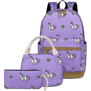 ddccd1e55bc4 CAMTOP Teens Backpack for School Boys Girls School Bookbag Set Travel  Daypack (Y007 Purple)