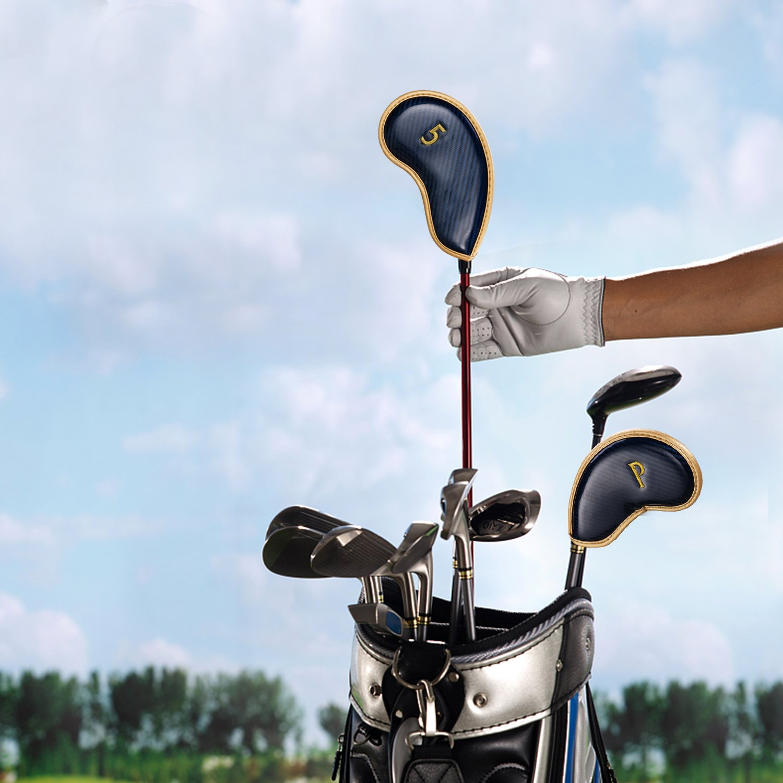 Fundas para cabezas de hierro 10 pcs Golf Club cabeza cubierta con diseño de números en ambos lados cierre de velcro para proteger de golf ajuste la ...