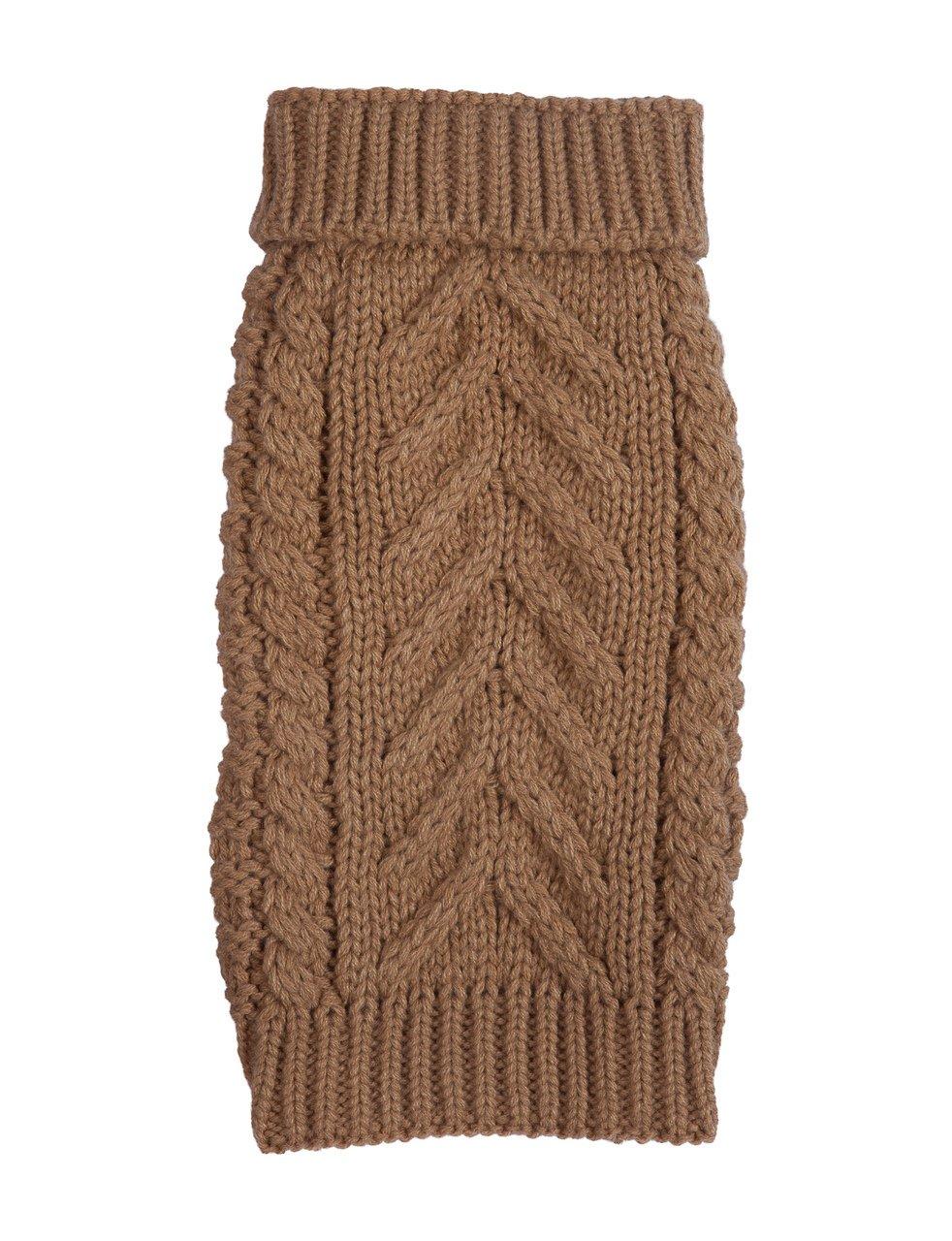 fabdog Super Chunky Knit Turtleneck Dog Sweater Camel (14'')