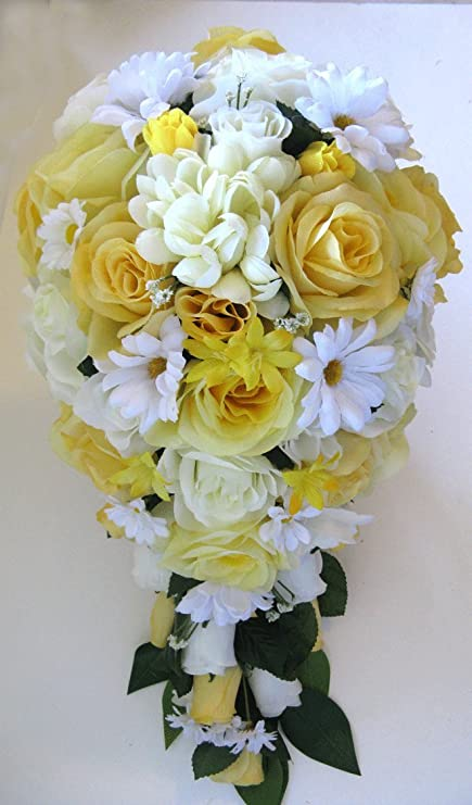 Amazon.com: Wedding Bouquet Silk Flowers 21 piece Package YELLOW ...