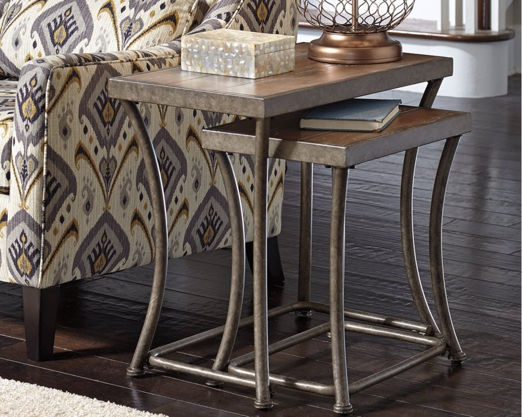 Ashley Furniture Signature Design - Nesting End Table Set - Rustic Mix of Metal and Wood - Vintage Casual - Set of 2 - Light Brown by Signature Design by Ashley (Image #2)