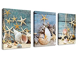 yearainn Canvas Wall Art Starfish Shell Fishing Net Stone on Beach Sands - 3 Pieces Contemporary Pictures Canvas Painting Modern Artwork for Home Decoration Framed Ready to Hang Blue Themes