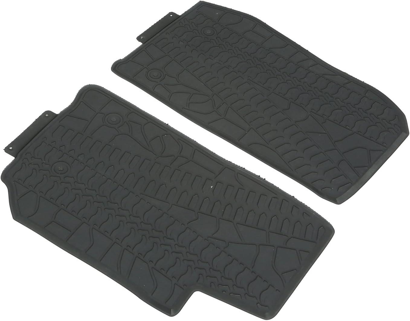 kkone Black Rubber Rear Row Floor Mats Liner Carpets for 2007-2018 Jeep Wrangler JK 2-Door