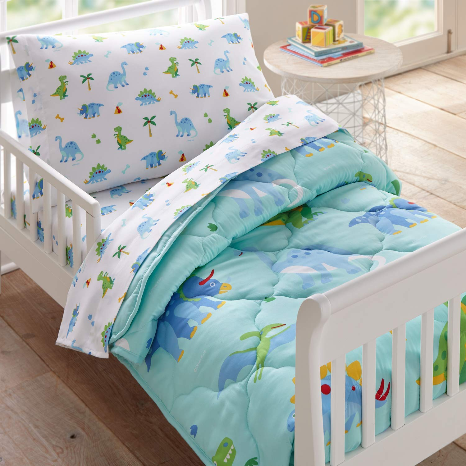 Wildkin 4 Piece Toddler Bed-in-A-Bag, 100% Microfiber Bedding Set, Includes Comforter, Flat Sheet, Fitted Sheet, and Pillowcase, Coordinates with Other Room Décor, Olive Kids Design – Dinosaur Land