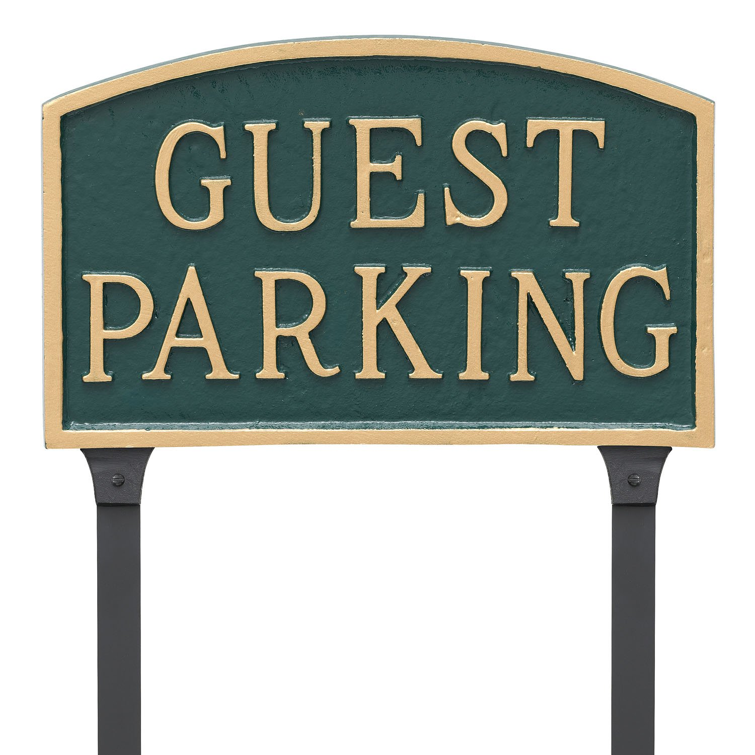 Montague Metal Products 13'' x 21'' Arch Guest Parking Statement Plaque Sign with 23'' Lawn Stake, Green/Gold