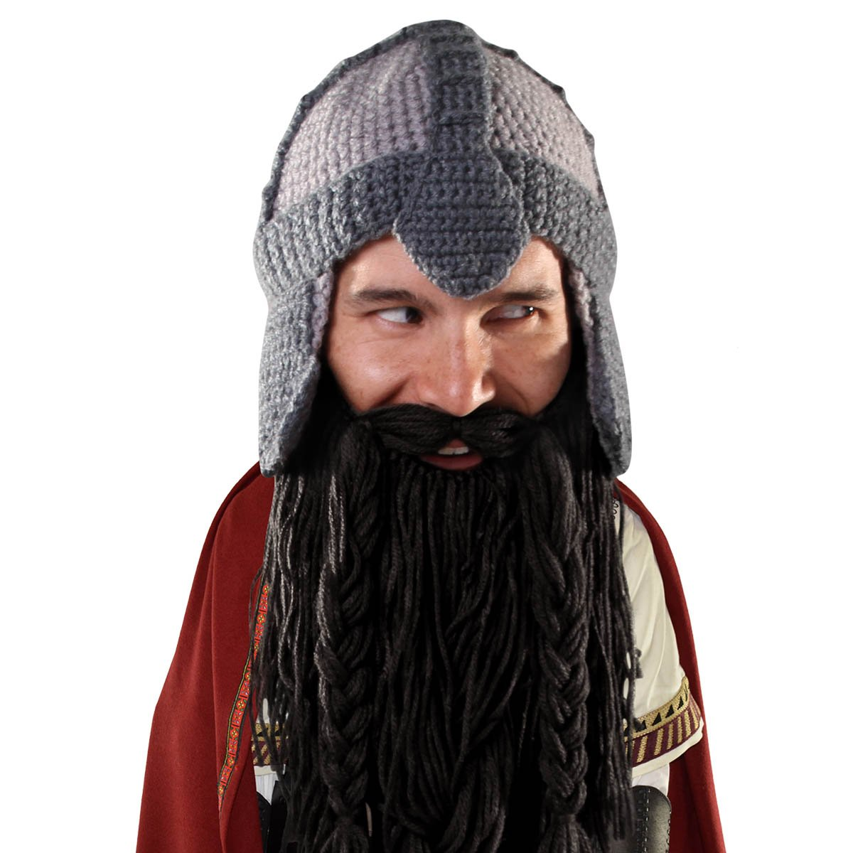 90ca8815c36 Amazon.com  Beard Head Dwarf Warrior Beard Beanie - Epic Knit Dwarf Helmet  and Fake Beard Black  Clothing