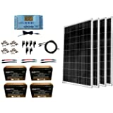 WindyNation 400 Watt Solar Kit: 4pcs 100W Solar Panels + P30L LCD PWM Charge Controller + Mounting Hardware + Cable + PV Conn