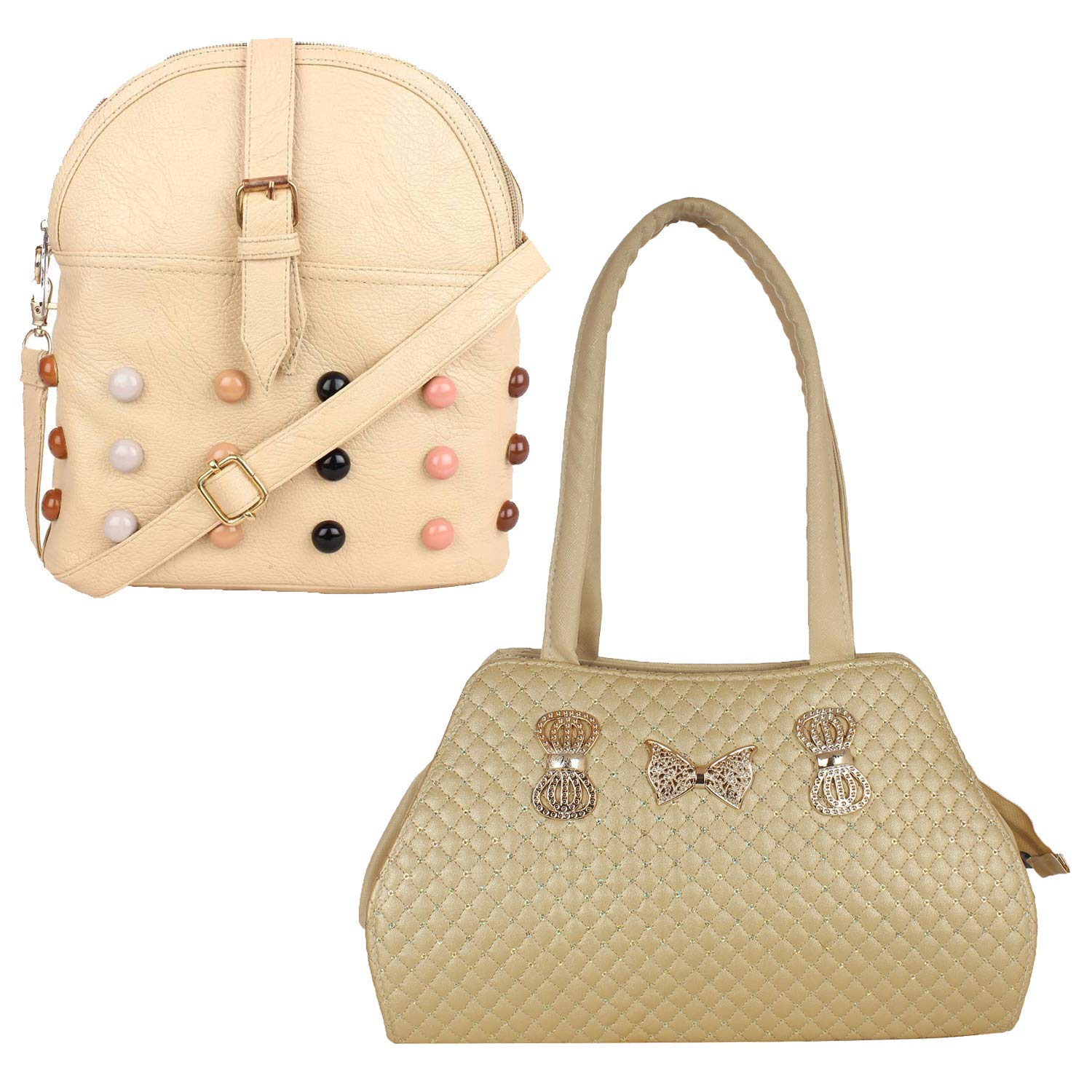 82d6f6cbf5 Fillincart Women Light Golden and Beige Colour PU Material Pack of 1 Sling  Bag and 1 Hand Bag  Amazon.in  Shoes   Handbags