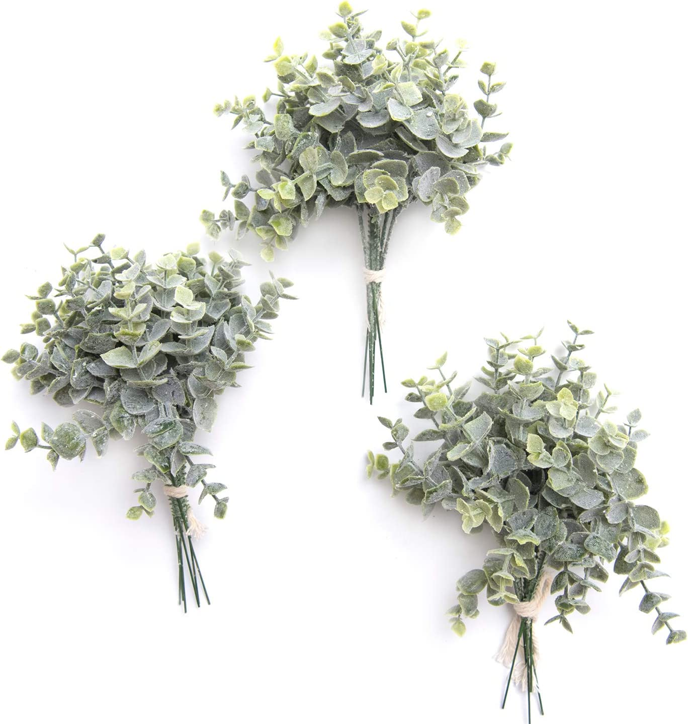 Ling's moment Artificial Greenery Spray Box Set for DIY Wedding Bouquet and Table Centerpieces Arrangement Decoration (Single Type, 0 Flocking Eucalyptus)