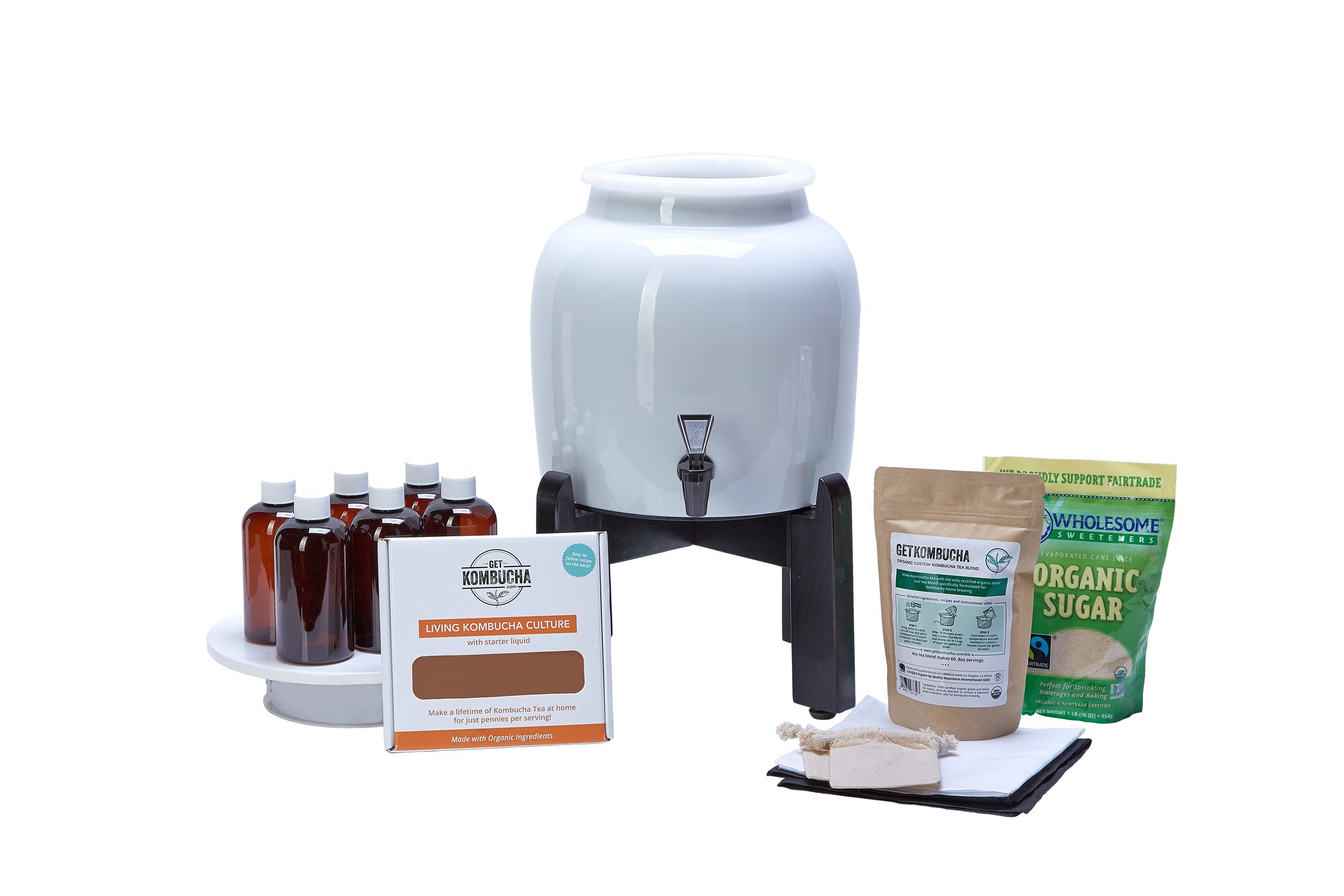 Kombucha Continuous Basic Brew Kit System - Drink Kombucha Tea On Tap (Making A Lifetime Of Home Brewed Kombucha Tea Easy For You) GetKombucha® - Includes 2.5 Gallon Porcelain Brewing Vessel w/ Handcrafted Wood Brewer Stand - Non Dehydrated HUGE Organic  by Get Kombucha (Image #1)