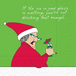 Design Design 624-10196 Christmas Cocktail Napkins, 9-inch Square (Not Drinking Fast Enough)