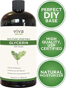 Glycerin - 100% Pure Vegetable Glycerin, USP Certified, Perfect Soap Base for DIYs, Bubble Bath, Natural Hair and Face Moisturizer for Dry Skin, and Glycerin Soap (32 Fl Oz,or 43 Oz Net Weight)