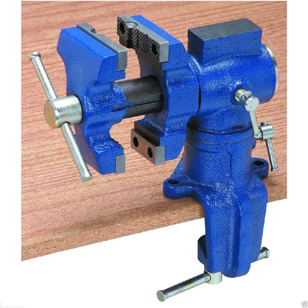 2.5 in. Portable Table Vise With 360 Degree Locking Swivel Base & Swivel Jaw!