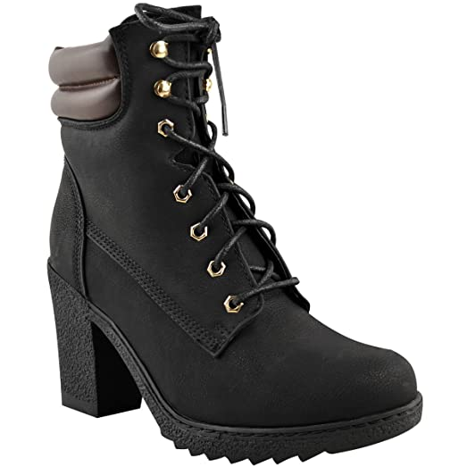 Womens Chunky High Heel Combat Army Lace Up Biker Ankle Boots Size