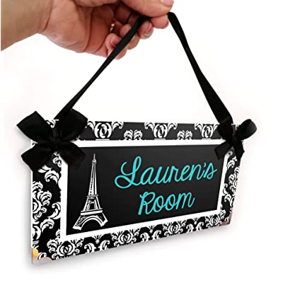 Bedroom Door Sign Personalized | Eiffel Tower Paris Themed Teens Room Name Door Plaque | Elegant Black and White Damask with Green Teal Text | Lovely Gift Idea: Handmade