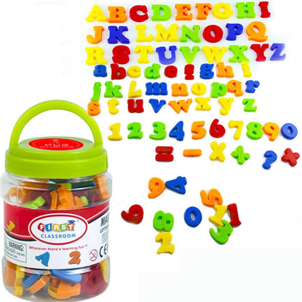 SIMUER Magnétiques Lettres et Numéros d'apprentissage Magnetic Letters Numbers pour Petits Enfants Jouets Educatifs (Mélange de Couleurs) 78PCS